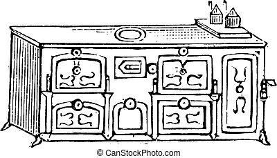 English stove, vintage engraving.