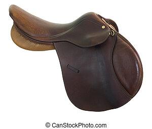 English style horse saddle - English style, brown leather, ...