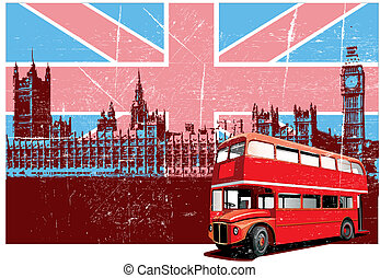 Grunge background with image of double decker bus and Houses Of Parliament on background English symbolism