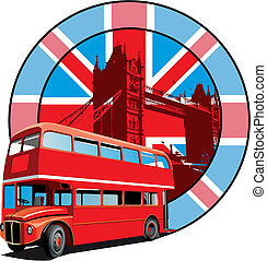 English Style - Round vignette with image of double decker ...
