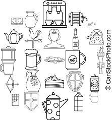 English tea icons set, outline style