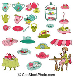 English Tea Party Set - for design, scrapbook, photo booth...