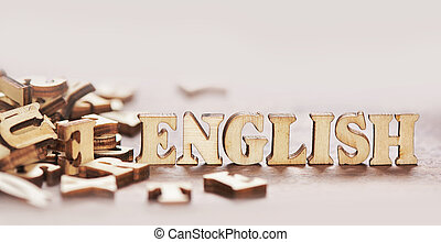 english text from wooden letters