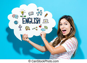 English text with young woman holding a speech bubble on a...