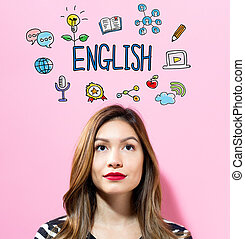 English text with young woman on a pink background