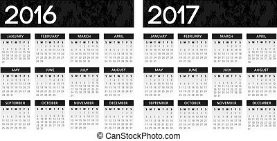 textured black calendar 2016-2017 - English textured black ...