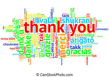 focus on English: Thank you. Word cloud in open form on white Background. saying thanks in multiple languages.