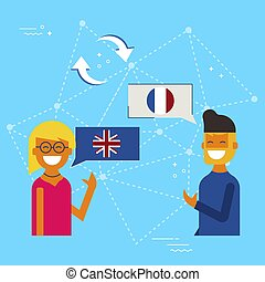 English to French online chat translation concept