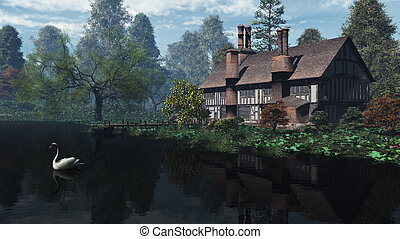 English Traditional Riverside Manor - Half-timbered...