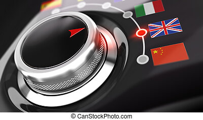 Language selector button with flags. Conceptual 3D render image with depth of field blur effect. Concept suitable for translation or online translator