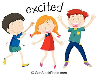 English vocabulary of excited illustration