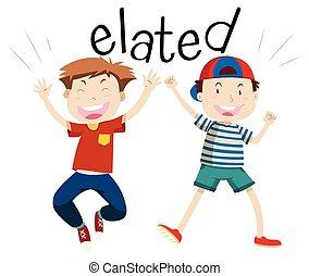 English vocabulary word elated