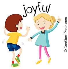 English vocabulary word joyful
