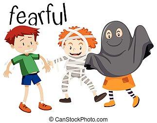 English vocabulary word of fearful illustration