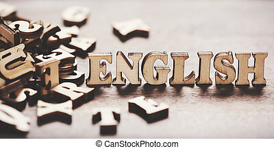 english word made from wooden letters.