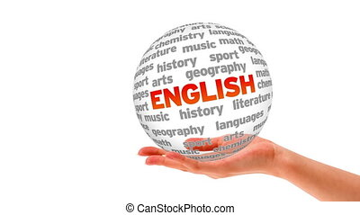 English word sphere - A person holding a 3d English word...