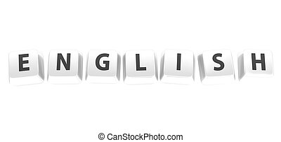 ENGLISH written in black on white computer keys. 3d illustration. Isolated background.