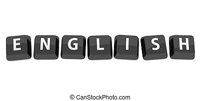 ENGLISH written in white on black computer keys. 3d illustration. Isolated background.