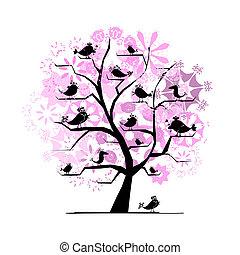 engraçado, árvore, com, cantando, pássaros, para, seu, desenho