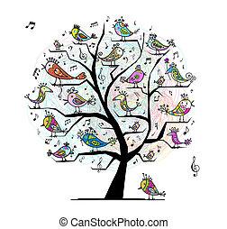 engraçado, árvore, pássaros, desenho, cantando, seu
