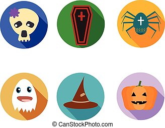 engraçado, ícones, seis, dia das bruxas, equipamento, cute