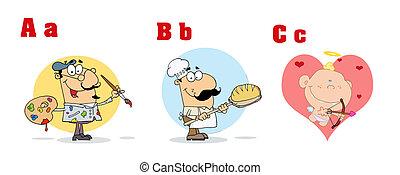 engraçado, abc, caricatura, alfabeto