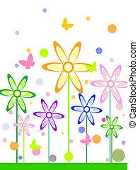 engraçado, abstratos, flores