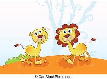 engraçado, africano, leões