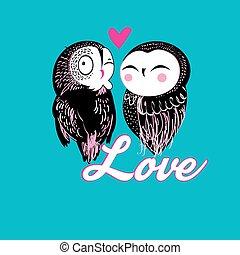 engraçado, amantes, coruja