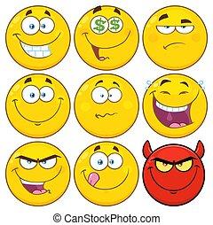 engraçado, amarela, caricatura, emoji, rosto, caráteres, jogo, 2., cobrança