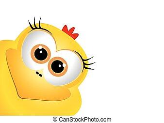 engraçado, amarela, chicken., desenho, leste, páscoa, template., cartão