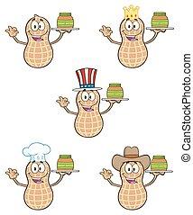 engraçado, amendoim, 3., cobrança, jogo