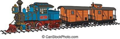 engraçado, americano, trem vapor