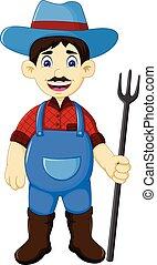 engraçado, ancinho, segurando, agricultor, macho, caricatura