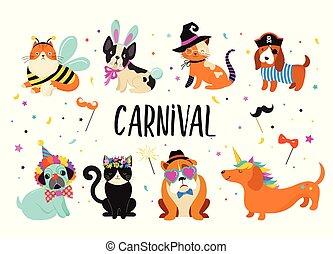 engraçado, animais, pets., cute, cachorros, e, gatos, com, um, coloridos, carnaval, trajes, vetorial, ilustração