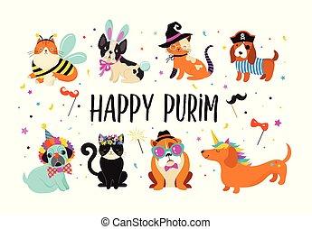 engraçado, animais, pets., cute, cachorros, e, gatos, com, um, coloridos, carnaval, trajes, vetorial, illustration., feliz, purim, bandeira
