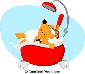 engraçado, animal estimação, levando, -, cão, banho, aparência