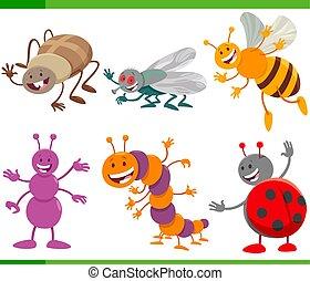 engraçado, animal, insetos, caricatura, caráteres, jogo