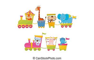 engraçado, animal, passeio, trem, caricatura, vetorial, ilustração