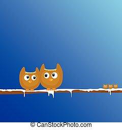 engraçado, arte, ramo, neve, ilustração, vetorial, animal