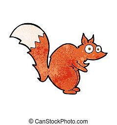 engraçado, assustado, esquilo, caricatura