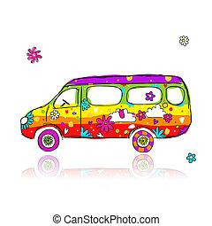 engraçado, autocarro escolar, para, seu, desenho