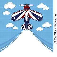 engraçado, avião, caricatura, acrobático