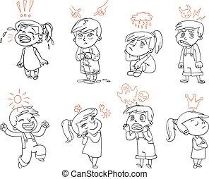 engraçado, básico, personagem, caricatura, emotions.