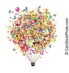engraçado, balloon, ar, feriado, desenho, seu, feliz