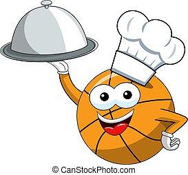 engraçado, basquetebol, alimento, personagem, isolado, bola, servindo, cozinheiro, bandeja, caricatura