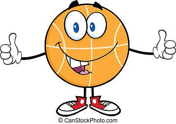 engraçado, basquetebol, personagem, caricatura