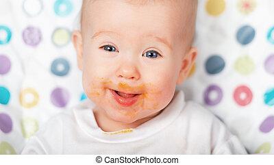 engraçado, bebê come, sujo, grimy