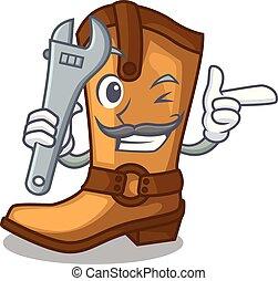 engraçado, boiadeiro, couro, botas, forma, mecânico, caricatura