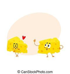 ENGRAÇADO, bom, Amor, queijo, conceito, pedaço, dois, caráteres, qualidade, mostrando